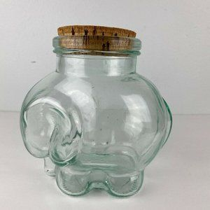 "Vintage Glass Elephant Jar Cork 7"" Green Italy"
